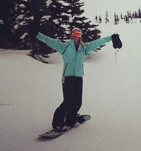 Dr. Caitlin Belter enjoying snowboarding